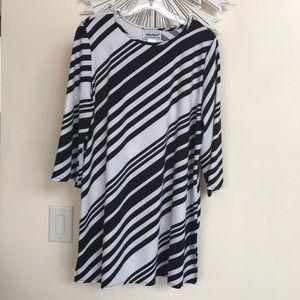 Anthony Richards Black White Striped 3/4 Tunic  XL